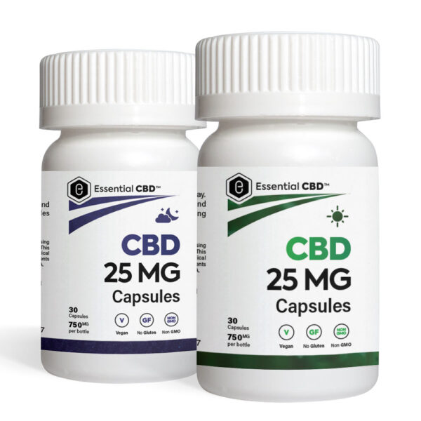 A pack of Essential CBD Capsules - contains one bottle of day capsules and one bottle of night capsules.